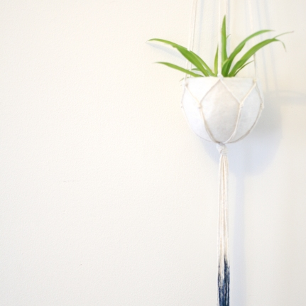 Natural cotton Indigo dip plant hanger with felt pod - 100cm