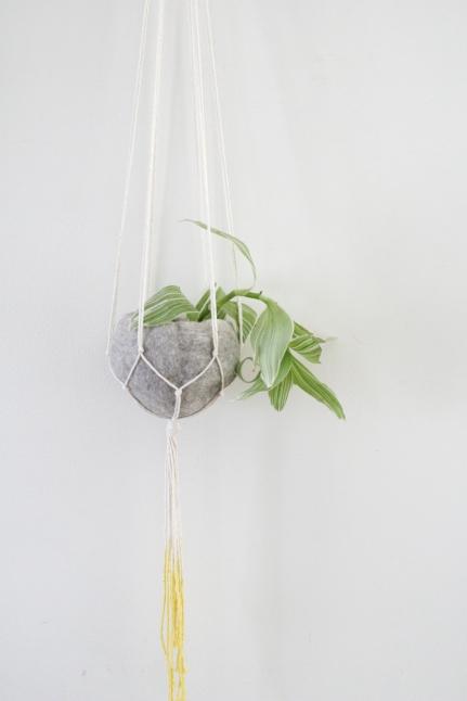 Natural cotton yellow dip plant hanger with felt pod - 50cm
