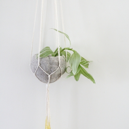 Natural cotton yellow dip plant hanger with felt pod - 50cm