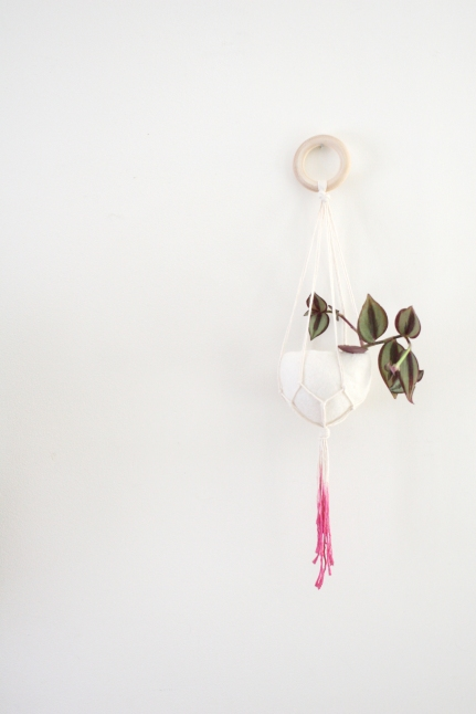 Natural cotton fuchsia dip plant hanger with felt pod - 50cm