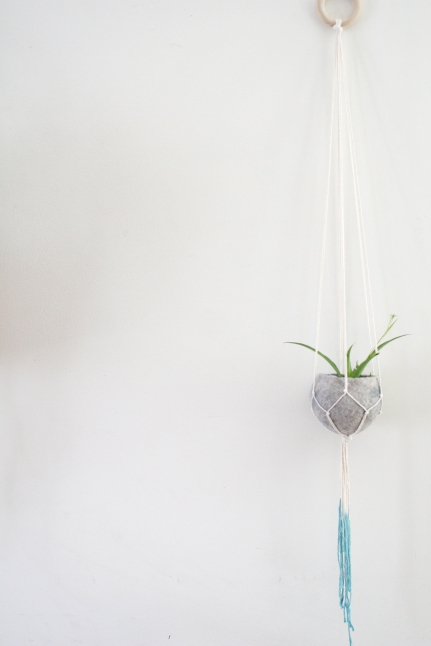 Natural cotton teal dip plant hanger with felt pod - 100cm