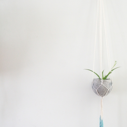 Natural cotton teal dip plant hanger with felt pod - 100cm